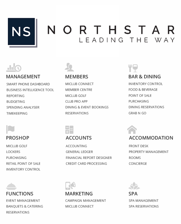 Northstar modules for club and hospitality management