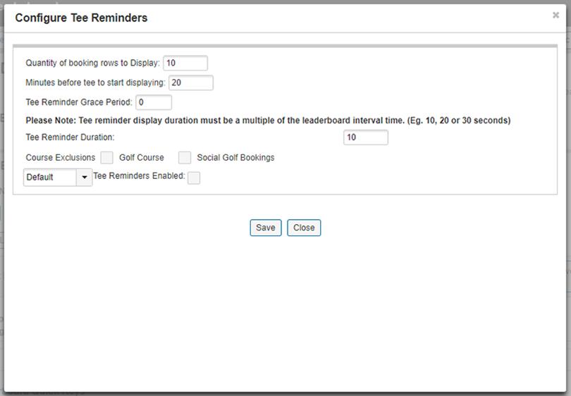 Configure Tee Reminders