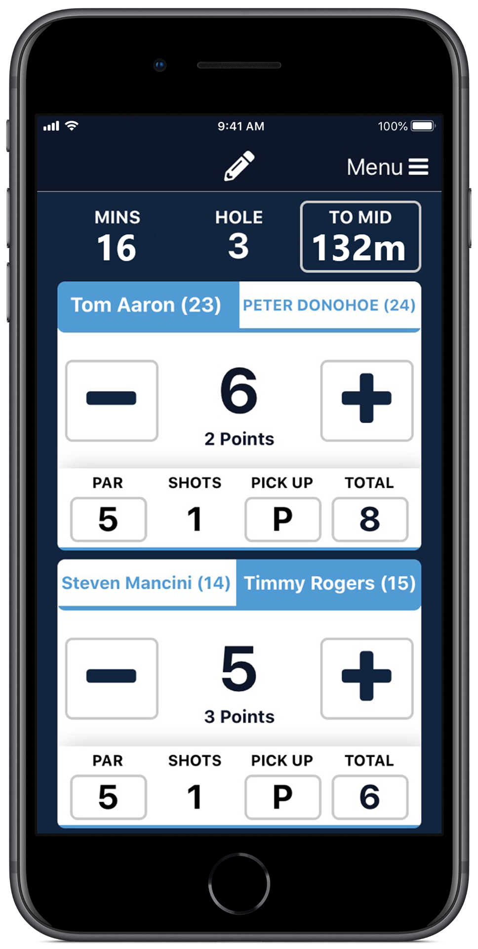 MiScore Fourball Competition Score Entry Screen Example